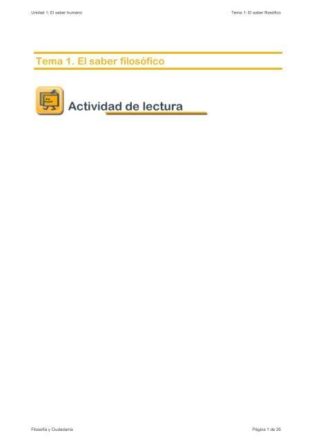 Unidad 1: El saber humano Tema 1: El saber filosófico ... - aulAragon