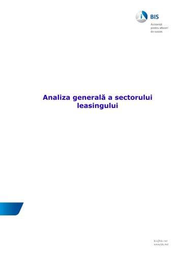 Analiza generala a sectorului leasingului - Bis.md