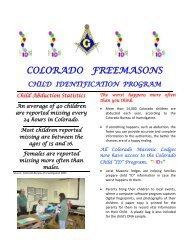 COLORADO FREEMASONS - Grand Lodge of Colorado