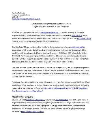 Marilyn R. Kroner Kroner Communications 303-478-3044 marilyn ...