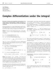 Complex differentiation under the integral