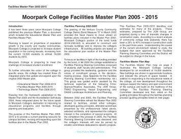 Moorpark College Facilities Master Plan 2005 - 2015