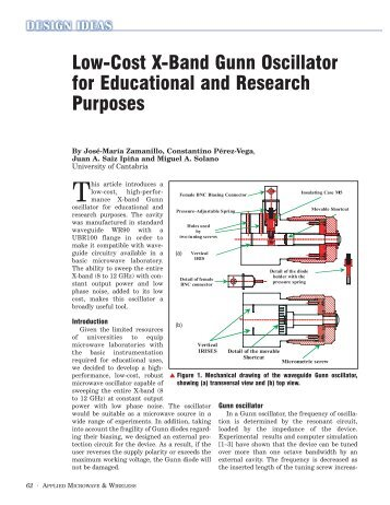 Low-Cost X-Band Gunn Oscillator for Educational and Research ...