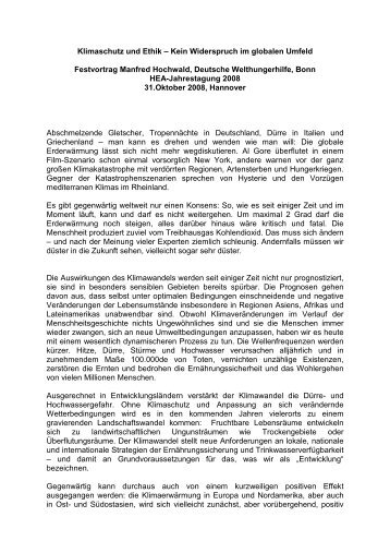 Manfred Hochwald, Deutsche Welthungerhilfe, Bonn - HEA