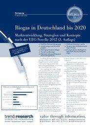 Biogas in Deutschland bis 2020 - trend:research