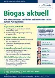 Seminar: Biogas aktuell - Management Circle AG - Fachverband ...