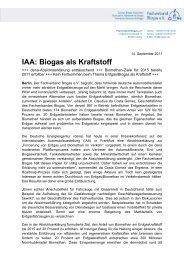 IAA: Biogas als Kraftstoff - Fachverband Biogas e.V.