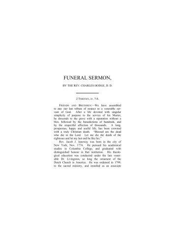 Funeral Sermon for the Rev. J. J. Janeway