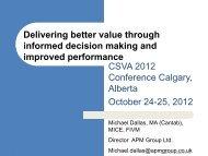 Delivering better value through informed decision ... - SCAV - CSVA