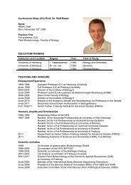 Curriculum Vitae (CV) Prof. Dr. Ralf Reski - Plant Biotechnology