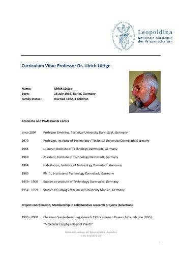 Curriculum Vitae Professor Dr. Ulrich Lüttge - Leopoldina