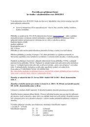 Směrnice a podmínky dodatečného přijímacího řízení pro ...