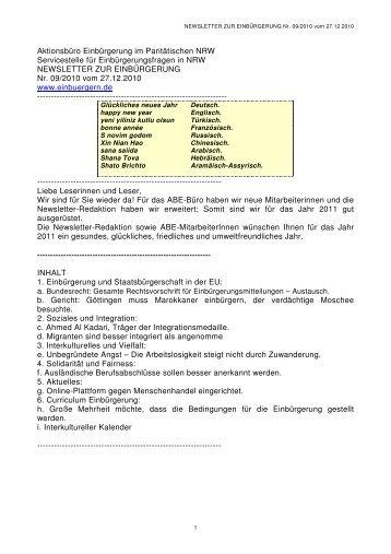 NEWSLETTER ZUR EINBÜRGERUNG Nr. 09/2010 vom 27.12.2010