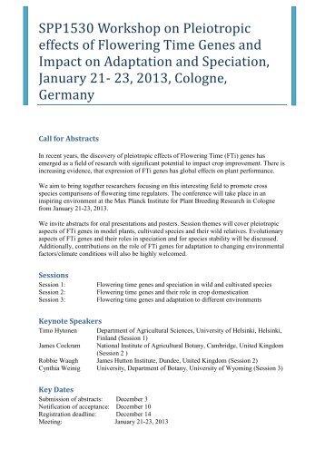 SPP1530 Workshop on Pleiotropic effects of Flowering Time Genes ...