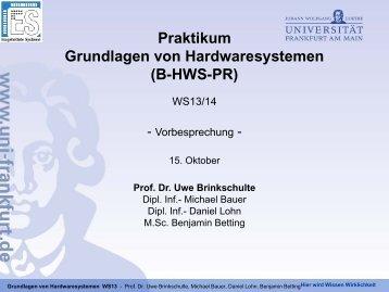 Prof. Dr. Uwe Brinkschulte - Eingebettete Systeme