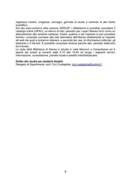 SALUTI DEL RETTORE - Università degli Studi del Molise