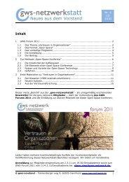 Neues aus dem Vorstand - GWS Netzwerk