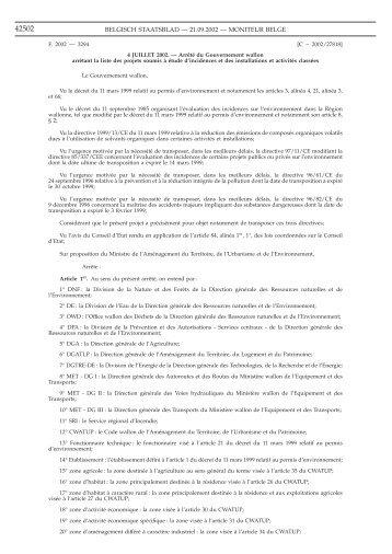 BELGISCH STAATSBLAD — 21.09.2002 — MONITEUR BELGE