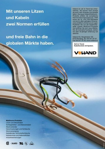 Mit unseren Litzen und Kabeln zwei Normen erfüllen ... - Volland AG