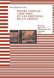 HENRI CORNAZ (1920-2008) ET LES ÉDITIONS DE LA THIÈLE