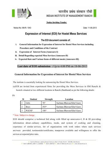 Expression of Interest (EOI) for Hostel Mess Services - IIM Ranchi