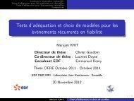 Tests d'adéquation et choix de modèles pour les ... - Mistis - Grenoble