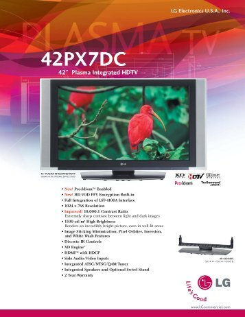 "42PX7DC 42"" Plasma Integrated HDTV - Warranty Life"