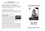 CONCERT DINNER Piano Soloist Juliet Allen - Beales Hotels