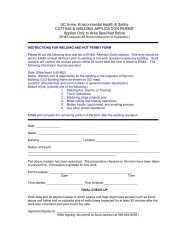 Welding and Hot Work Permit - UCI Environmental Health & Safety