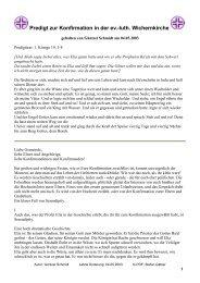 Predigt zur Konfirmation in der ev.-luth. Wichernkirche