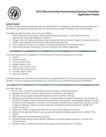2012 Ohio University Homecoming Steering Committee Application ...