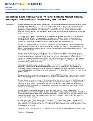 Crystalline Solar Photovoltaics PV Panel Systems Market Shares ...