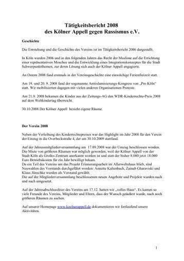 Jahresbericht 2008 - Kölner Appell gegen Rassismus