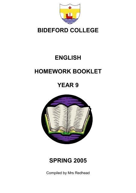 bideford college english homework booklet year 9 spring 2005