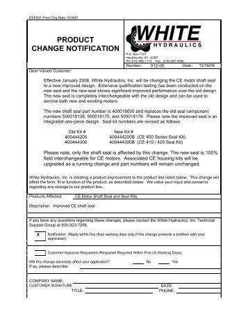 PRODUCT CHANGE NOTIFICATION - White Drive Products, Inc.