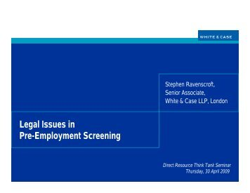 Legal Issues in Pre-Employment Screening - White & Case