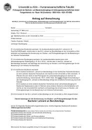 Antrag auf Anrechnung - Humanwissenschaftliche Fakultät