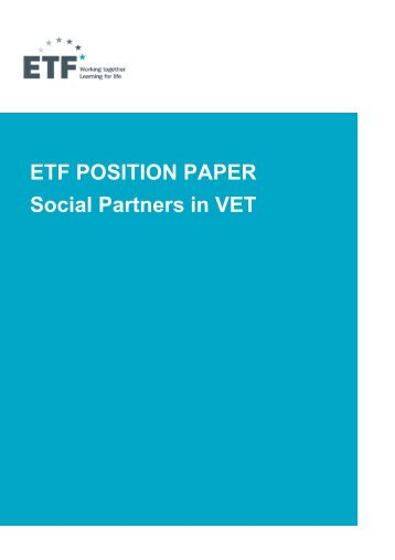 Social partners in VET - European Training Foundation
