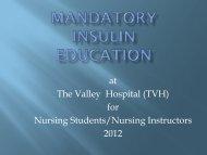 Insulin Education PowerPoint - Valley Hospital