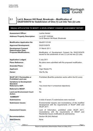 3.1 Lot 8, Beacon Hill Road, Brookvale - Warringah Council
