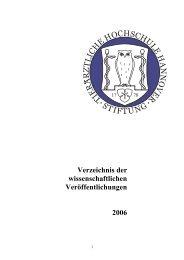 Verzeichnis der wissenschaftlichen Veröffentlichungen 2006