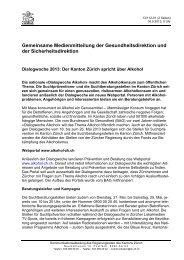 Dialogwoche 2013 - Suchtprävention im Kanton Zürich