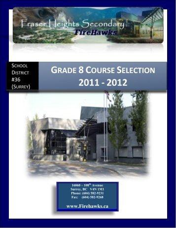 Grade 8 Course Selection 2011 - 2012 - Surrey Schools
