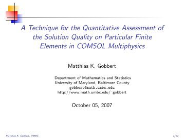 Slides - Department of Mathematics and Statistics - UMBC