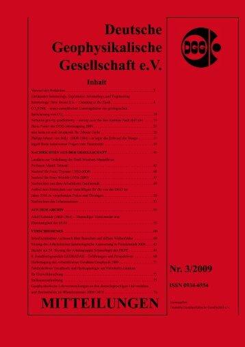MITTEILUNGEN Deutsche Geophysikalische Gesellschaft e.V.