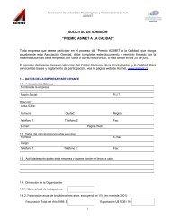 Solicitud de Admisión Premio a la Calidad - Asimet