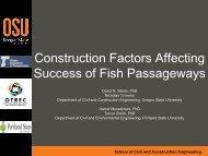 Construction Factors Affecting Success of Fish Passageways