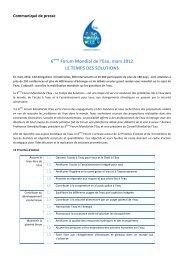 Communiqué de presse - 6th World Water Forum