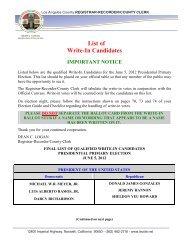 List of Write-In Candidates - Registrar-Recorder/County Clerk