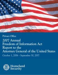 Privacy Office 2007 Annual Freedom of Information Act Report to the ...